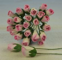 6mm ROSY PINK ROSE BUDS (L) Mulberry Paper Flowers
